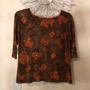 Joseph A. Brown 3/4 Sleeve Silk Sweater Top XL